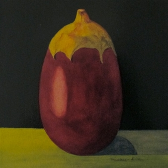 """Still Life with Eggplant Watercolor & Varnish on Panel 8"""" x 8"""""""