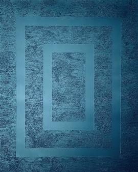"Blue Mirror Glass Beads & Spray Paint on Canvas 39.5"" x 31.5"""