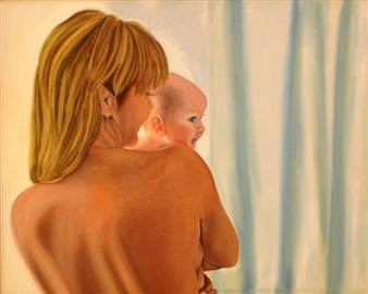 """Madonna and Child Oil on Canvas 29.5"""" x 36"""""""