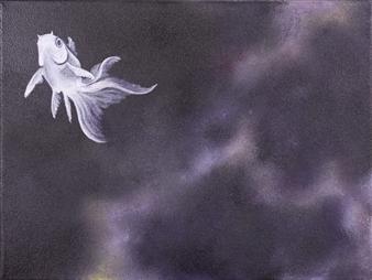 "Goldfish 1 Acrylic on Canvas 12"" x 16"""
