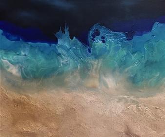 """Whispery Blue Beach Acrylic & Oil on Canvas 18"""" x 24"""""""
