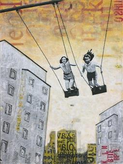 "Sunday Swing Acrylic & Collage on Canvas 47.5"" x 35.5"""