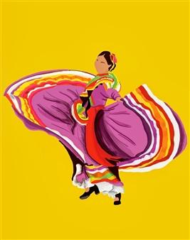 "Danza Tapatia #3 Digital Illustration 15"" x 11"""