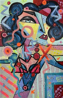 "First Impression Acrylic & Spraypaint on Canvas 47"" x 31.5"""