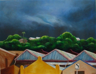 """Storm over the City Oil on Linen 28"""" x 36"""""""