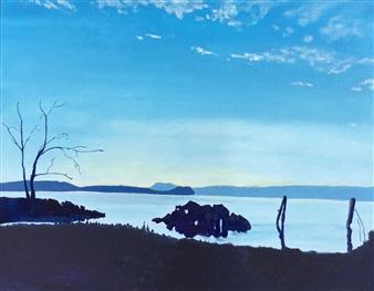 "Croton Boat Launch Acrylic on Canvas 16"" x 20"""