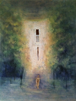 """Maison Bleue Acrylic on Canvas 23.5"""" x 15.5"""""""