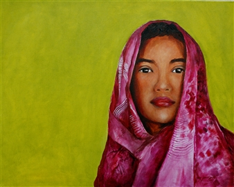 "Magenta Girl Oil on Canvas 24"" x 30"""
