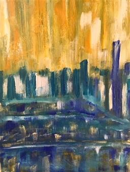 """City by the Park Acrylic & Gouache on Canvas 16"""" x 12"""""""