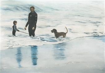 "Family Boardin' in California Watercolor on Paper 14"" x 20"""