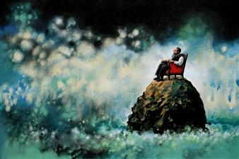 "A Thinker Acrylic on Canvas 24"" x 36"""