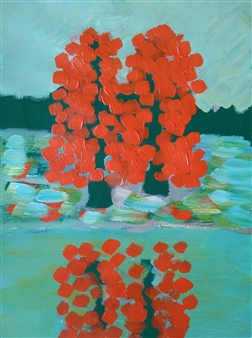 "Tree. Autumn No.8 Acrylic on Paper 24"" x 18"""