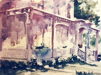 """Colonial House Watercolor on Paper 22"""" x 28"""""""