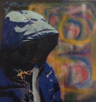 "Josh Acrylic & Spraypaint on Canvas 30"" x 30"""
