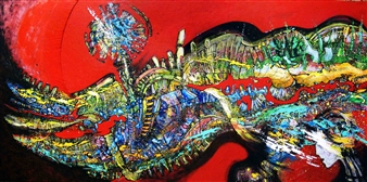 "Magma 2 Acrylic & Ink on Canvas 39.5"" x 78.5"""