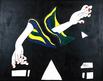 """Composition of Hands Acrylic on Canvas 45"""" x 45.5"""""""