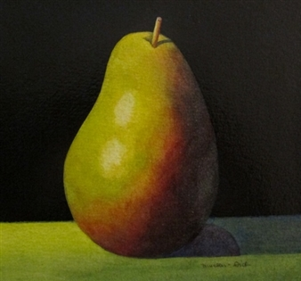 """Still Life with Pear Watercolor & Varnish on Panel 8"""" x 8"""""""