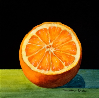 """Still Life with Orange Mixed Media on Canvas 6"""" x 6"""" <span style='color:red;'>Sold</span>"""