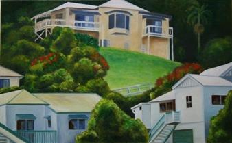 """Hillside Houses Oil on Linen 20"""" x 32"""""""