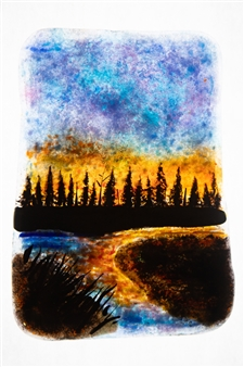 """Forest 9 Glass Painting 7.5"""" x 5"""""""
