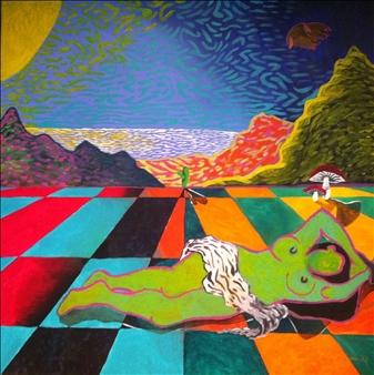 """Absinthe Minded Dreams Acrylic on Canvas 48"""" x 48"""""""
