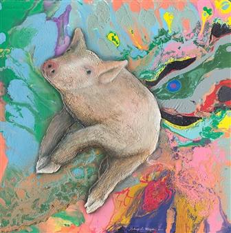"""Metaphysical Swine Acrylic & Oil on Canvas 36"""" x 36"""""""