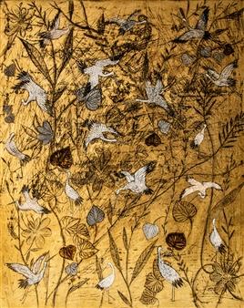 "Stoerche Acrylic & Gold Leaf on Canvas 39.5"" x 31.5"""