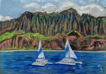 """N'a Pâli Coast Kauai Island Pastel on Canvas 20"""" x 28"""""""