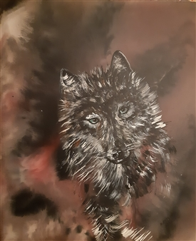"""Wolf Acrylic & Oil on Canvas 23.5"""" x 20"""" <span style='color:red;'>Sold</span>"""