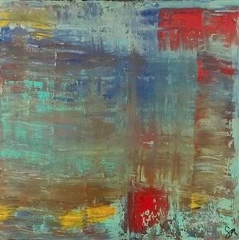 "Poco Astratta Acrylic on Canvas 12"" x 12"""