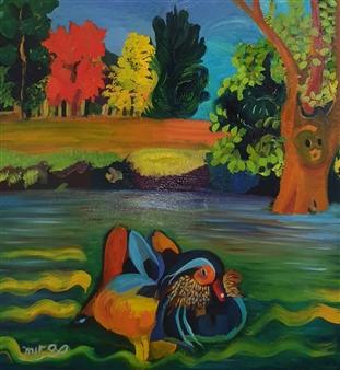 "Mandarin Duck Oil on Canvas 12.5"" x 12.5"""