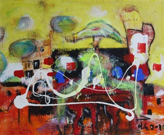 """Funky Morning - Let`s Forget the Search for the Right Symbols! Acrylic on Canvas 15.5"""" x 19.5"""""""
