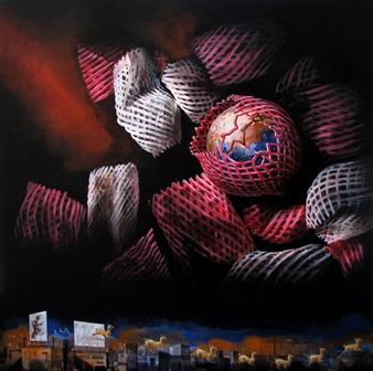 """Enfold-Unfold Acrylic on Canvas 41.5"""" x 41.5"""""""