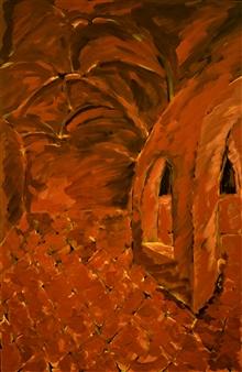 """Rhodes Monastery Oil on Canvas 27.5"""" x 18"""""""