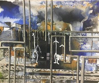 """Apocalypse Acrylic & Oil on Canvas 23.5"""" x 35.5"""""""
