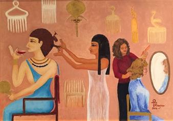 """Hair Dresser Oil on Canvas 23.5"""" x 31.5"""""""