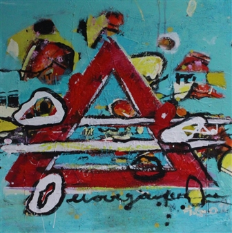 """Searching for the Right Symbols Acrylic on Canvas 27.5"""" x 27.5"""""""