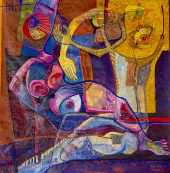 """Mujeres del Cosmos Acrylic on Canvas 44"""" x 44"""""""
