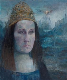 "Viaggio Egg Tempera, Oil Paint, & Oil Pastel on Canvas 47.5"" x 39.5"""