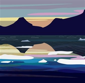 """Tasilaq Fjord at Dusk II Digital Print on Fine Art Paper 12"""" x 12"""""""