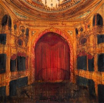 "Boca de Cena - Arco Oil & Pastel on Canvas 39.5"" x 39.5"""