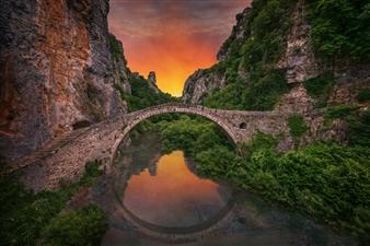 "Sunrise on Kokoris Bridge - Xan White - Switzerland Photograph 0"" x 0"""
