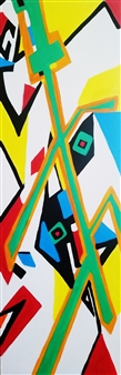 "Kung Fu Mantis Acrylic with Satin Varnish Polymer 72"" x 24"""