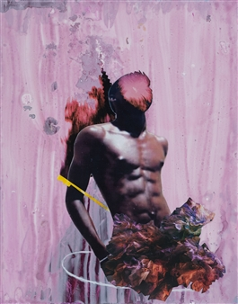 """Dream Rooms no. 55 - Man with Orchids Collage & Mixed Media on Paper 24"""" x 20"""""""
