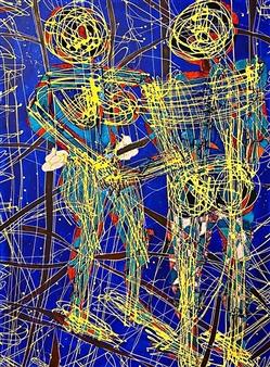 "Emotional Distance. Ayahuasca in B Mayor Mixed Media on Canvas 48"" x 36"""