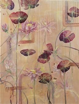 """Mystic Lilies Acrylic & Mixed Media on Canvas 48"""" x 36"""""""