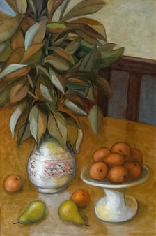 """Still Life With Oranges and Pears Oil on Masonite 36"""" x 24"""""""