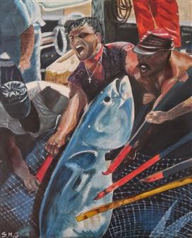 "Pesca del Atun Acrylic on Canvas 39.5"" x 31.5"""