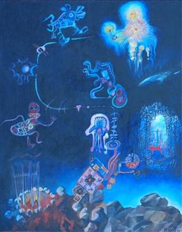 "Shamanic Two Acrylic & Crayon on Canvas 30"" x 24"""