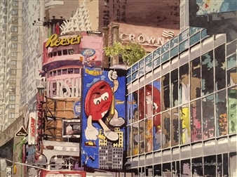 """Hershey's NYC Watercolor on Paper 19"""" x 25.5"""""""